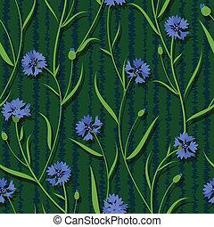 blu, cornflower, modello, seamless, sfondo verde