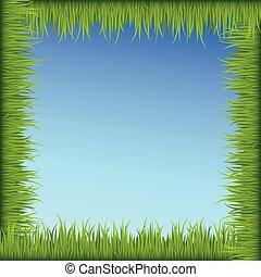 blu, cornice, cielo, sfondo verde, erba