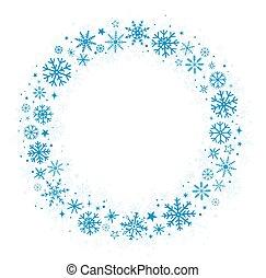 blu, cornice, con, inverno, fiocchi neve
