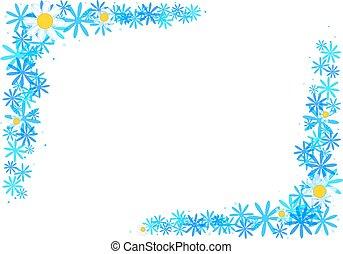 blu, cornice, fiori