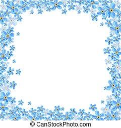 blu, cornice, fiori, nontiscordardime, vettore