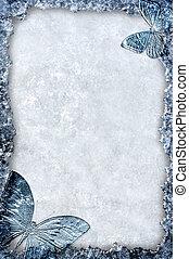 blu, cornice, fondo, farfalle, ghiaccio