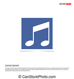 blu, cornice foto, -, nota, musica, icona