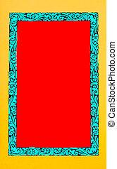 blu, cornice, rosso giallo, spazio