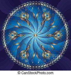 blu, cornice, rotondo, oro