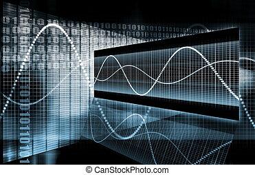 blu, corporativo, dati, diagramma