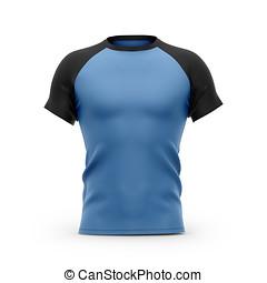 blu, corto, camicia, uomini, nero, t, raglan, sleeves.