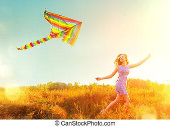 blu, corto, colorito, bellezza, sopra, volare, cielo, correndo, ragazza, vestire, chiaro, aquilone