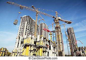 blu, costruzioni, lavorativo, gru, molti, cielo, costruzione, posto, sotto, alto