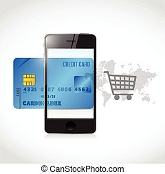 blu, credito, carrello, telefono, shopping, concetto