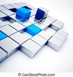 blu, cubi, astratto, metallico, bianco, argento