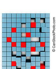 blu, cubi, astratto, metallico, bianco rosso