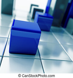 blu, cubi, astratto, metallico, scuro, bianco