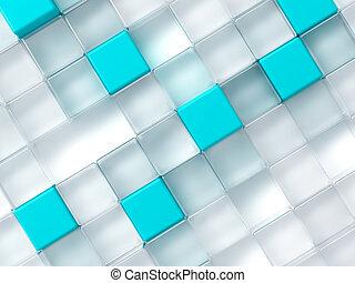 blu, cubi, astratto, plastica, fondo, bianco, consistere