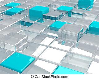 blu, cubi, astratto, plastica, vetro, fondo, consistere, trasparente