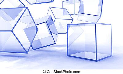 blu, cubi, astratto, vetro, fondo, bianco