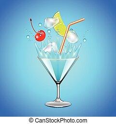 blu, cubi, cocktail, ghiaccio, laguna, frutte, cadere