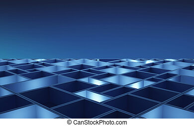 blu, cubi, illustration., modello, astratto, board., fondo., circuito, alta tecnologia, tecnologia, 3d