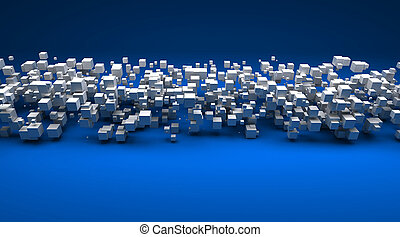 blu, cubico, contro, particelle, fondo, bianco