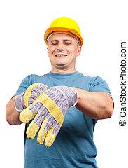 blu, cuoio, lavoratore, protezione, guanti, mettere, colletto