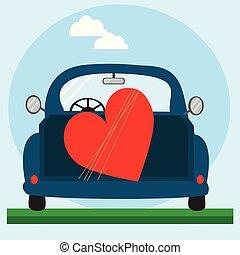 blu, cuore, automobile., rosso, grande