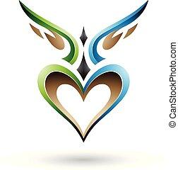 blu, cuore, come, alato, illustrazione, vettore, verde, uggia, uccello