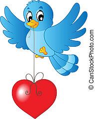 blu, cuore, cordicella, uccello