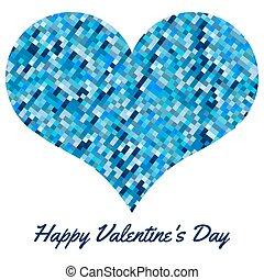 blu, cuore, fatto, valentines, fondo, pixels., giorno
