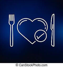 blu, cuore, fondo, dieta, icona
