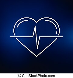blu, cuore, fondo, impulso, icona
