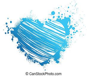 blu, cuore, grunge