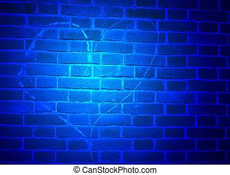 blu, cuore, luce, sopra, parete, segno, Gesso, esplorazione, dettagli, disegnato, mattone