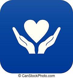 blu, cuore, mani, presa a terra, digitale, icona
