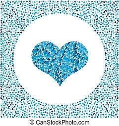 blu, cuore, poco, fatto, molti, valentines, pixel, around., fondo, cuori, bianco, giorno