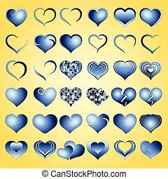 blu, cuore, simbolo, set