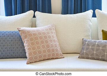blu, cuscini, divano, decorazione, interno, bianco, curtains.