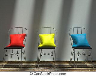 blu, cuscini, metallo, giallo, soleggiato, sedie, rosso