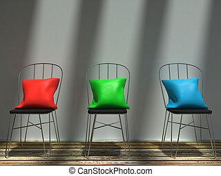 blu, cuscini, metallo, soleggiato, sedie, verde rosso