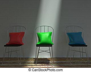 blu, cuscini, sedie, metallo, verde rosso