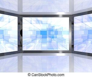 blu, definizione, parete, grande, monitor, alto, tv, hdtv, televisioni, montato, rappresentare, o