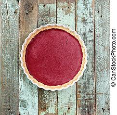 blu, delizioso, malvestito, lingonberry, legno, torta, luminoso, copyspace, fondo, aperto