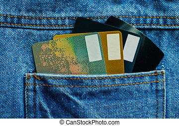 blu, denim, tasca posteriore, carte credito, jean