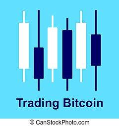 blu, diagramma, grafico, bitcoin, isolato, cryptocurrency, fondo., strategy., commercio