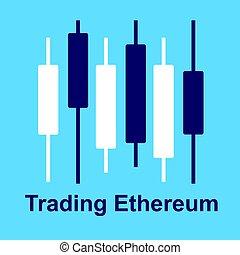 blu, diagramma, grafico, isolato, cryptocurrency, fondo., strategy., ethereum, commercio
