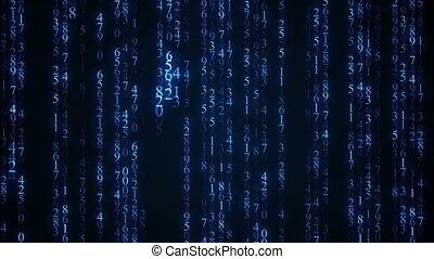 blu, digitale, matrice, rain., seamless, cappio, animazione