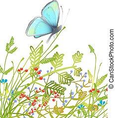 blu, disegnato, farfalla, delicato, mano
