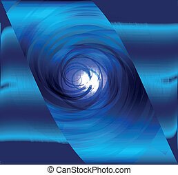 blu, disegno astratto, spirale