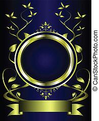 blu, disegno floreale, oro