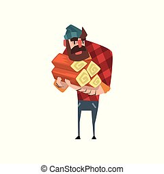 blu, divertente, barbuto, plaid, woodcutter., camicia, colorito, appartamento, logs., vestito, taglialegna, jeans, cartone animato, vettore, disegno, presa a terra, hat., uomo, pila, rosso, carattere
