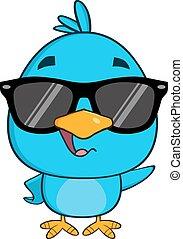 blu, divertente, carattere, uccello, ondeggiare